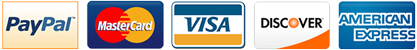 Secure payments by PayPal, MasterCard, Visa Card, Discover, American Express