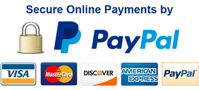 Secure online payments by Credit Card, Debit Card or PayPal